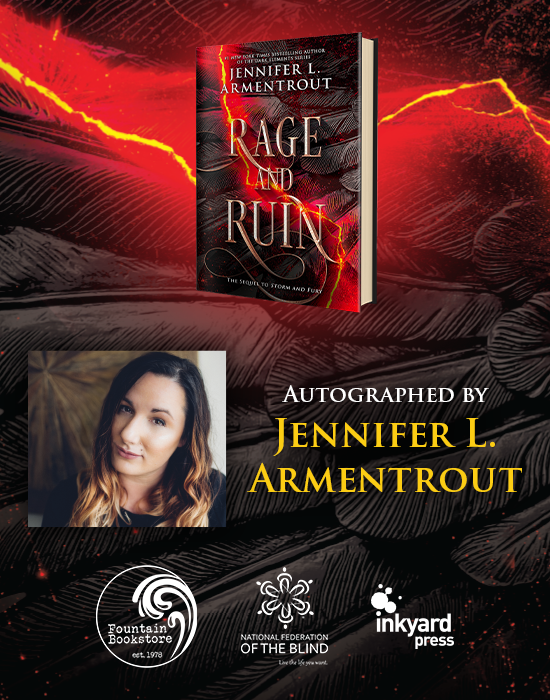 A designed graphic containing the book, Rage and Ruin, and Jennifer L. Armentrout's photo. The graphic links to the pre-order information for a signed copy of Rage and Ruin.